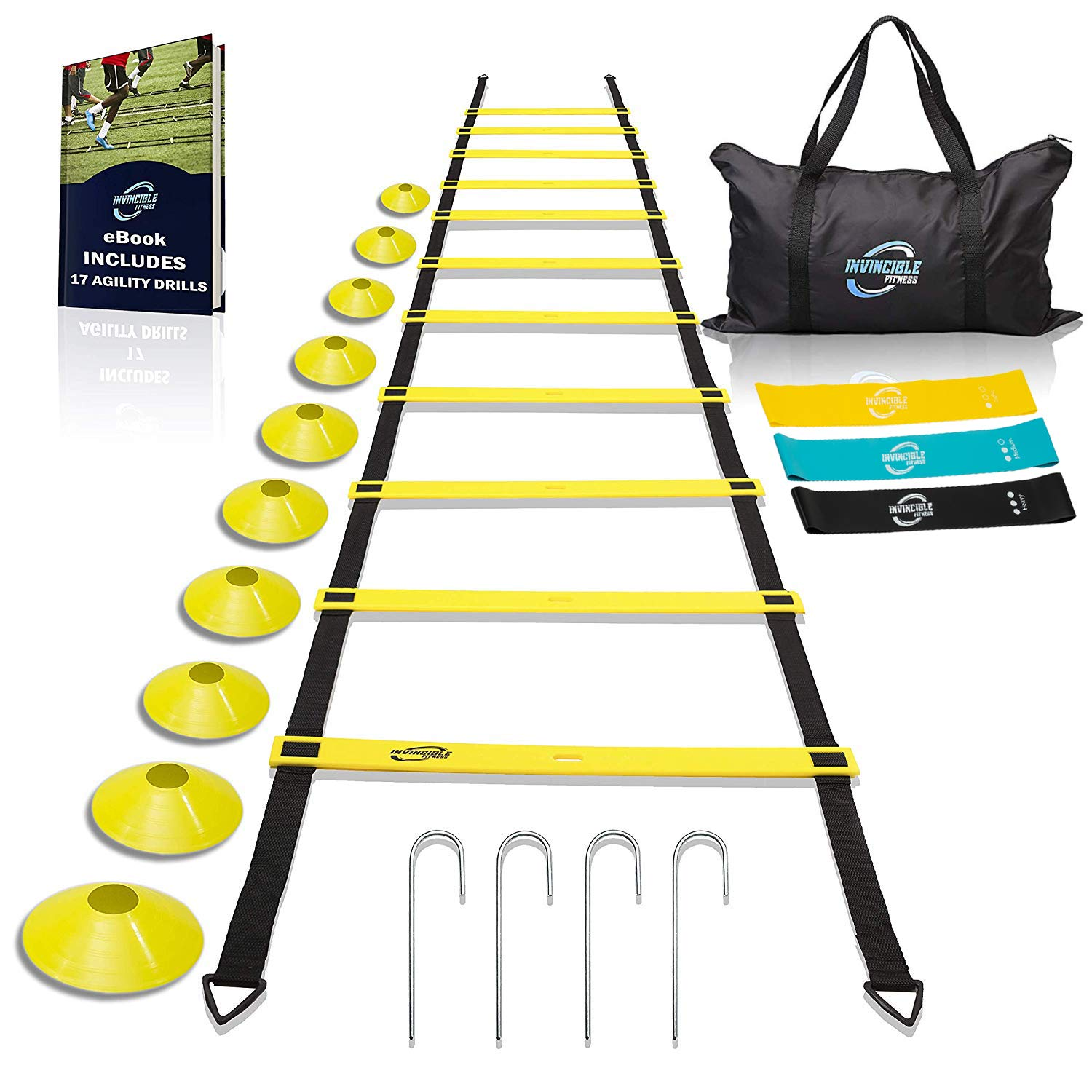 Invincible Fitness Agility Ladder Training Equipment Set, Improves Coordination, Speed, Explosive Power and Strength, Includes 10 Cones, 4 Hooks and 3 Loop Resistance Bands for Outdoor Workout by Invincible Fitness