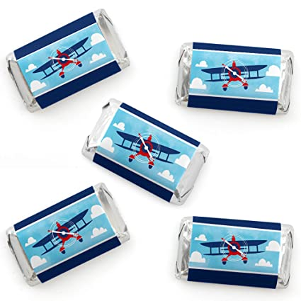 Taking Flight - Airplane - Mini Candy Bar Wrapper Stickers - Vintage Plane  Baby Shower or Birthday Party Small Favors - 40 Count