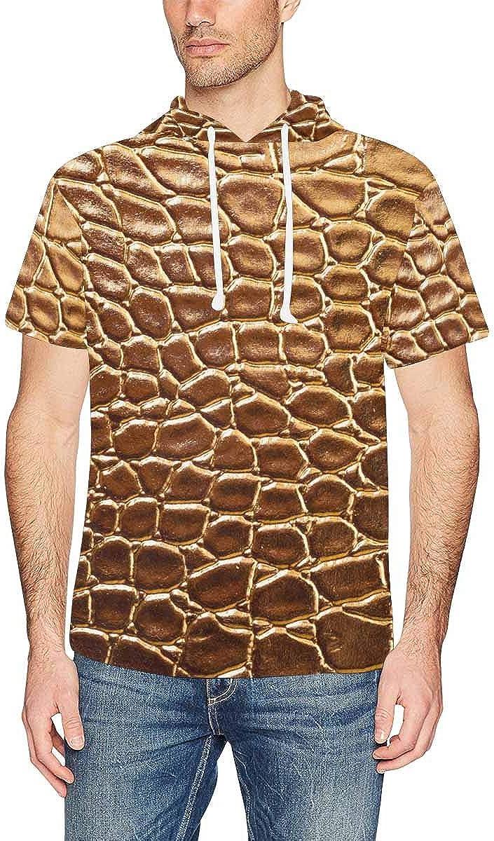 INTERESTPRINT Mens Short Sleeve Hoodies Shirts Tiger Leopard Cheetah Drawstring Pullover Tops