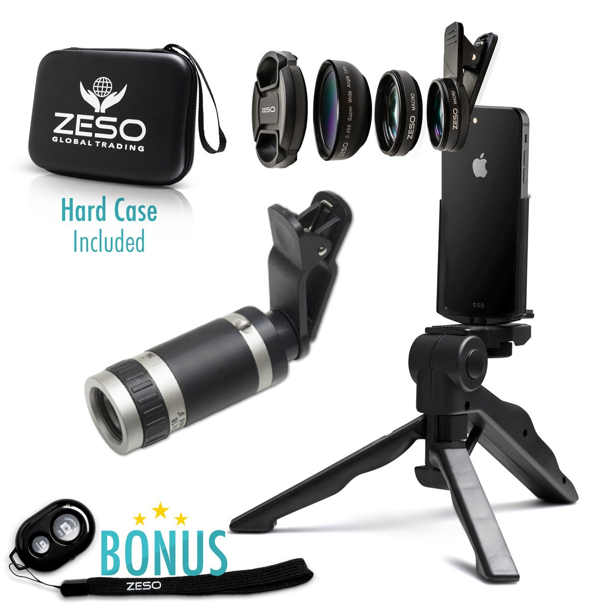 Camera Lens Kit by Zeso | Professional Telephoto, Macro & Wide Angle Lenses | Multi-use tripod And Selfie Remote Control | For iPhone, Samsung Galaxy, iPads, Tablets | Hard Case & Universal Phone Clip by Zeso lens