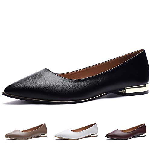 111f4d510b14e CINAK Flats Shoes Women–Ladies Fashion Comfort Light Ballet Pointed Toe  Slip-on Casual Black Loafers