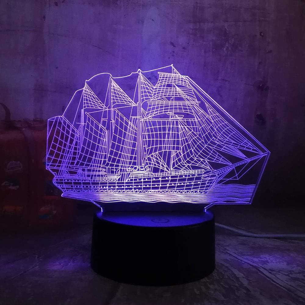 KangYD Lámpara 3D Para Veleros, Illusion LED Night Light, Decoración Para El Hogar, Lámpara De Ambiente, Control Remoto 7 Colores (Blanco Roto Ck, Regalo De Novedad, Regalo De Fiesta: Amazon.es: Iluminación