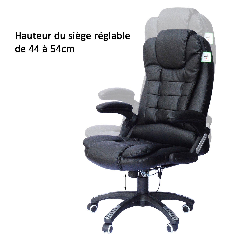 Homcom Chaise de bureau pivotante fauteuil direction de massage electrique  massant relaxation crème 320ed5931944