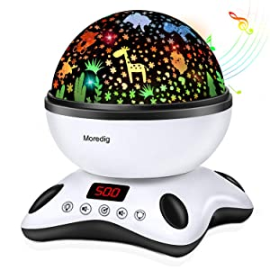 Moredig - Star Projector, Remote Control and Timer Rotating Multicolor Night Light - Black
