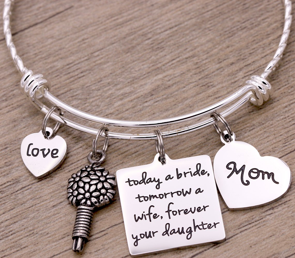 Melix Home Today A Bride Tomorrow A Wife , Forever Your Daughter , Mom Braccelet (White) by Melix Home (Image #2)