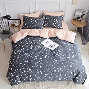 PinkMemory Queen Duvet Cover Cotton Bedding Set Gray Flowers Branches Printing,Reversible Peach and Gray Duvet Cover Set-Ultra Comfy Breathable Zipper