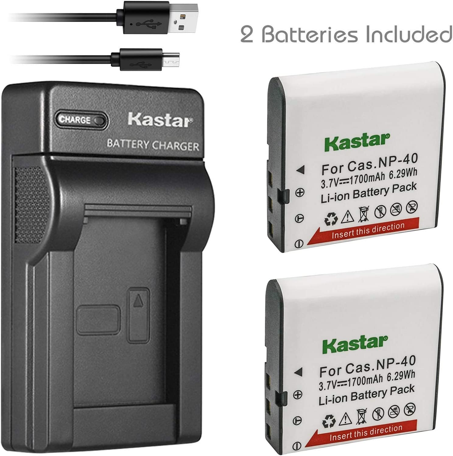 Kastar Battery (X2) & Slim USB Charger for Casio NP-40 and Exilim Z400 FC100 FC150 FC160S P505 P600 P700 Z100 Z1000 Z1050 Z1080 Z1200 Z200 Z30 Z300 Z40 Z450 Z50 Z500 Z55 Z57 PRO EX-Z600 Z700 Z750 Z850