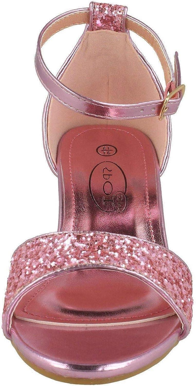 Spot On Girls Mid Heel Glitter Sandals