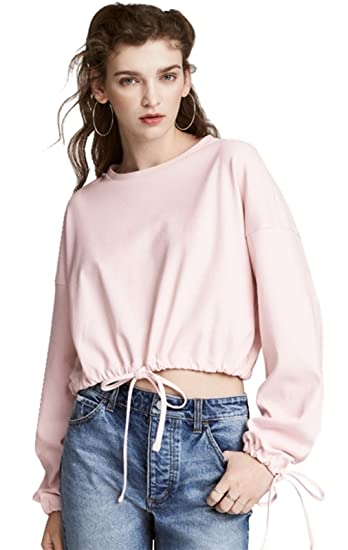 77f5baac7b9a1 Arctic Cubic Fashion Drawstring Bishop Sleeve Long Sleeve Sweatshirt T-Shirt  Cropped Crop Top Pink at Amazon Women s Clothing store