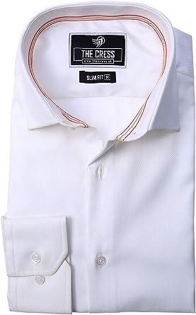 Camisa de Hombre de algodón Puro con Cuello Interior Blanco ...