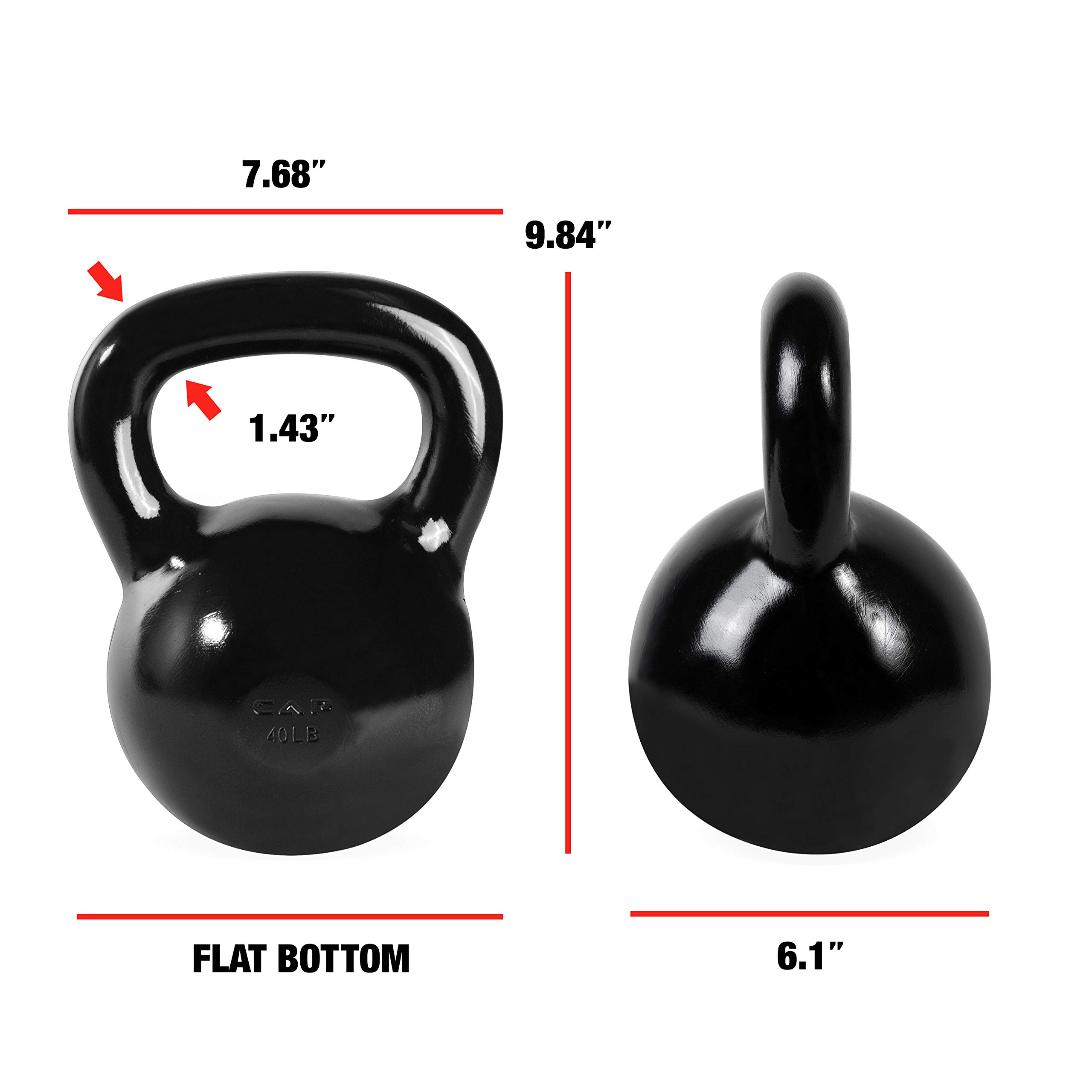 CAP Barbell SDK2-040 Enamel Coated Cast Iron Kettlebell, 40 lb, Black by CAP Barbell (Image #5)