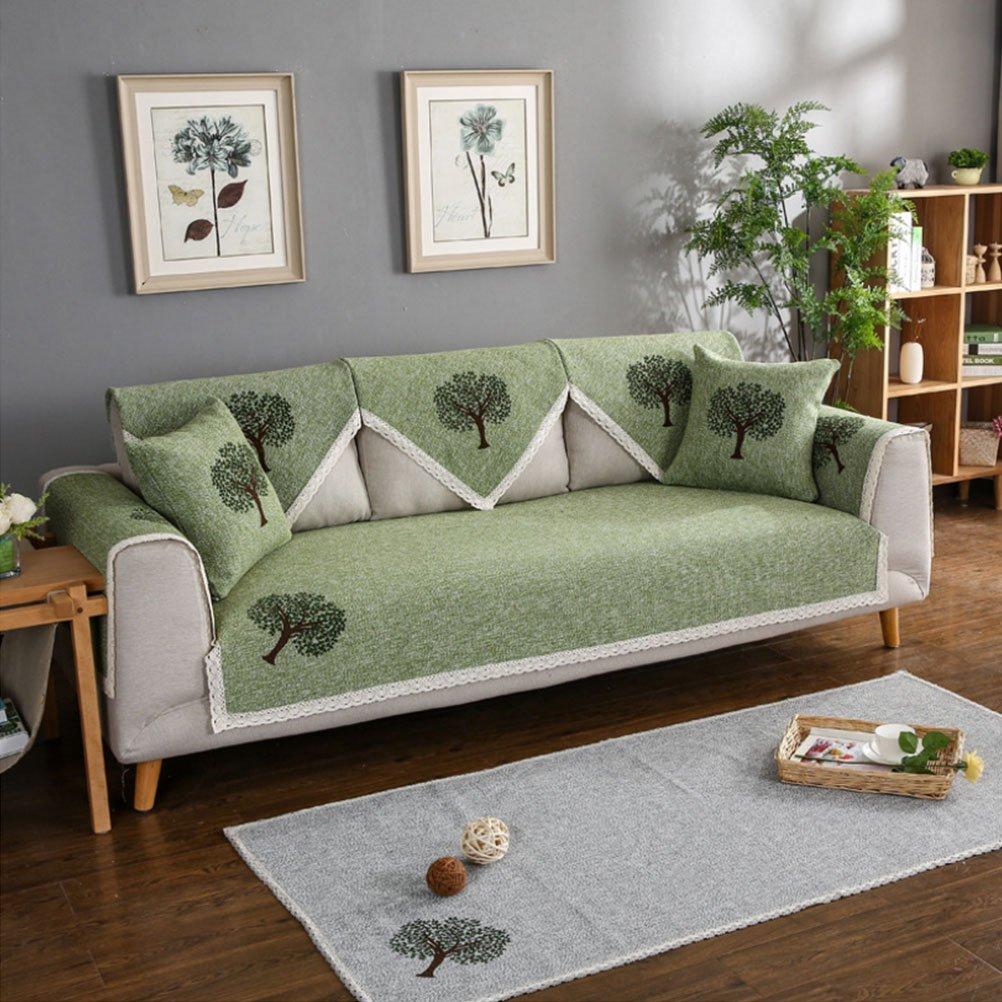 BIN Copridivano per Divano in Tinta Unita in Cotone per Divano Estate (Quattro in Vendita),verde,90  210