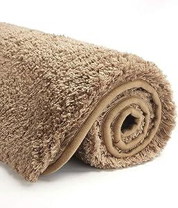 Suchtale Large Bathroom Rug Extra Soft and Absorbent Shaggy Bathroom Mat (24 x 40, Sand) Machine Washable Microfiber Bath Mat for Bathroom, Non Slip Bath Mat, Luxury Bathroom Floor Mats Rubber Back