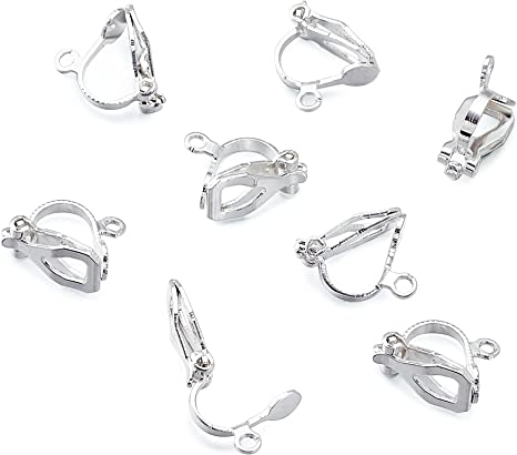 20pcs Brass Clip-on Earring Components non-pierced ears Platinum Plated Makings