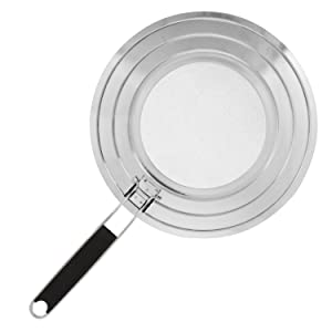 "U.S. Kitchen Supply 12"" Stainless Steel Fine Mesh Splatter Screen with Non-Slip Folding Handle - 8"", 9.5"" & 11"" Size Pot & Pan Rings - Grease Oil Guard for Safe Cooking"