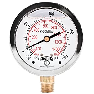"Winters PFQ Series Stainless Steel 304 Dual Scale Liquid Filled Pressure Gauge with Brass Internals, 30"" Hg Vacuum-0-200 psi/kpa,2-1/2"" Dial Display, +/-1.5% Accuracy, 1/4"" NPT Bottom Mount"