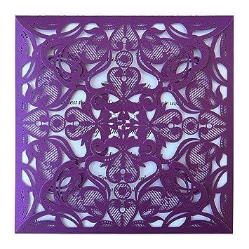 Amazon Com Affordable Purple Wedding Invitation Purple Laser Cut