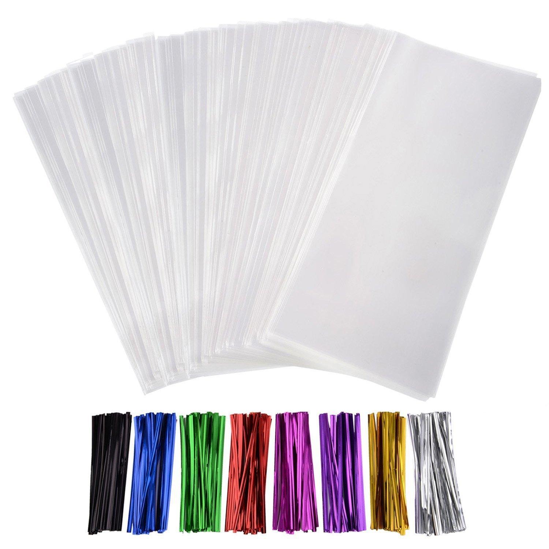 300 Stück Leckereien Taschen Cello Taschen 3 x 4 Zoll und 320 Stück Twist Krawatten 8 Farben für Hochzeit Geschenk Süßigkeiten Buffet Party Supply Outus SYNCHKG121409