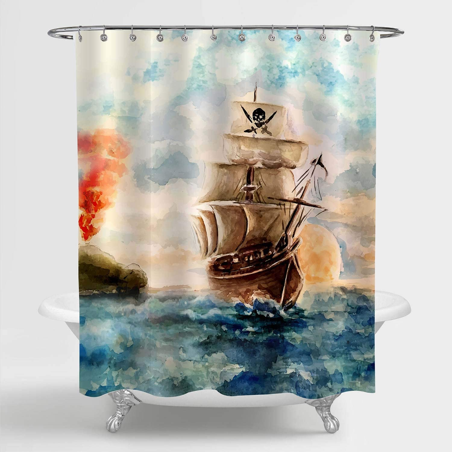 "MitoVilla Nautical Sailboat Shower Curtain, Watercolor Caribbean Pirate Ship Cruises in Treasure Adventure Bathroom Decor for Children and Kids Boy Nautical Gifts, Blue Brown, 72"" W x 72"" L"
