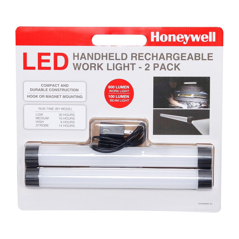 (2 Pack) Honeywell Rechargeable 600 Lumen LED Work Light, 100 Lumen Beam Light, Handheld, Hook, Magnet Mounting