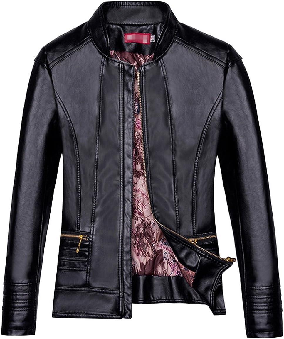 Tanming Womens Faux Leather Zip Up Moto Biker Jacket