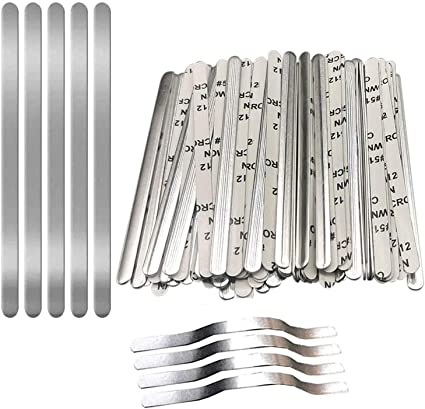 Aluminum Metal Nose Strip Adjustable Nose Clips Wire for DIY Face Mask Making Accessories for Sewing Crafts,100Pcs Nose Bridge Strips for Mask