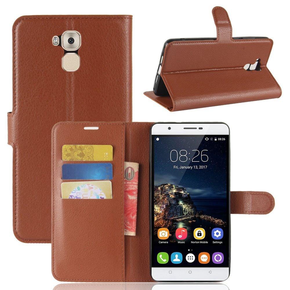 Guran® Funda de Cuero PU Para Oukitel U16 MAX Smartphone Función de Soporte con Ranura para Tarjetas Flip Case Cover Caso-marrón Oukitel U16 MAX-9