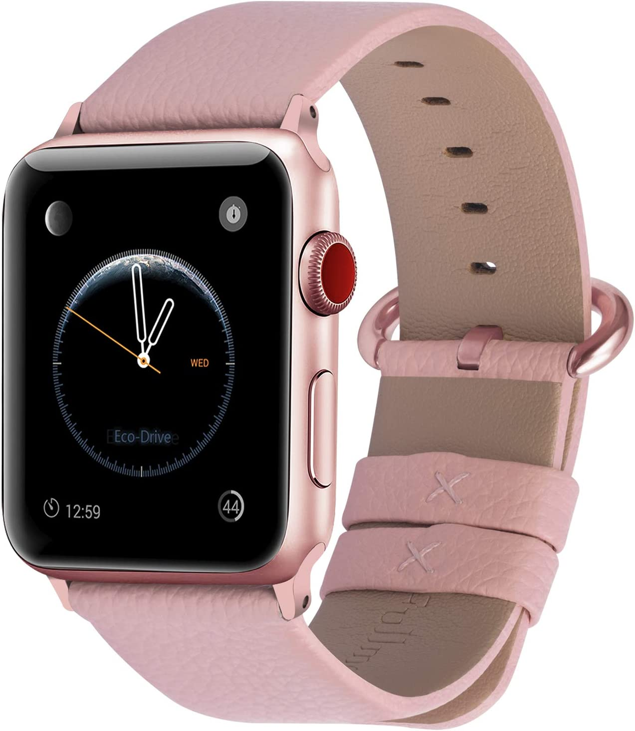 Fullmosa Compatible Apple Watch Band 42mm 44mm 40mm 38mm Leather Compatible iWatch Band/Strap Compatible Apple Watch SE & Series 6 5 4 3 2 1, 42mm 44mm Soft Pink + Rose Gold Buckle