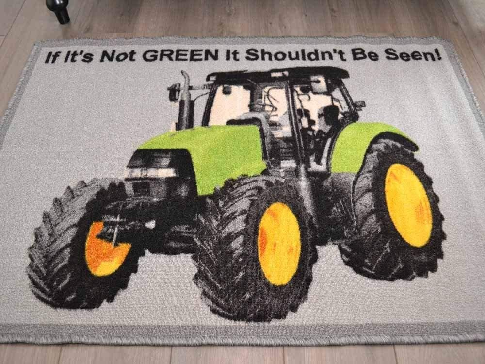 Tractor Themed Children Kids Large Play Mats Rugs 50cm x 80cm Tractor Red