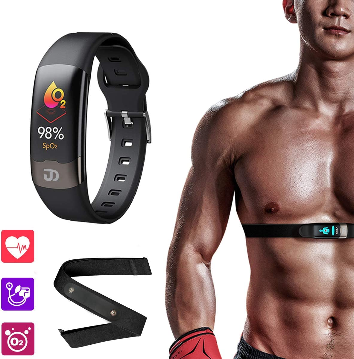Jiandi 2-in-1 Heart Rate Monitor Smart Watch Chest Strap SPO2 Blood Oxygen Monitor Fitness Tracker, Blood Pressure Wrist Band HRV Health Sleep Smart Watch Activity Tracker with Calorie Counter(Black)