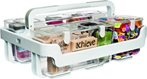 Deflecto Caddy Organizer, Stackable with Three Compartments, White and Clear, 4 Pieces (29003CR)