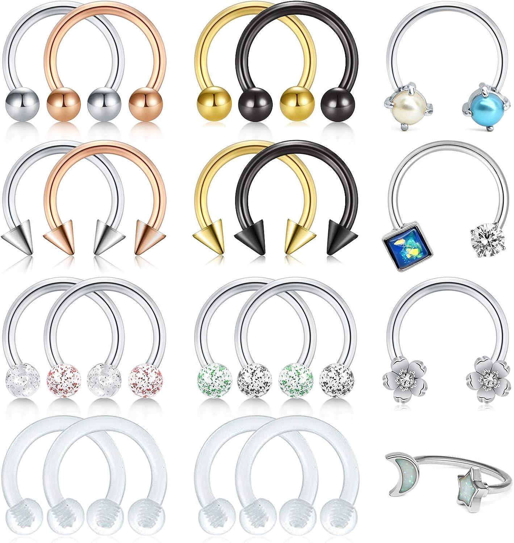 20pcs Stainless Steel  Hoop Nose Rings Earring Septum Piercing Ring