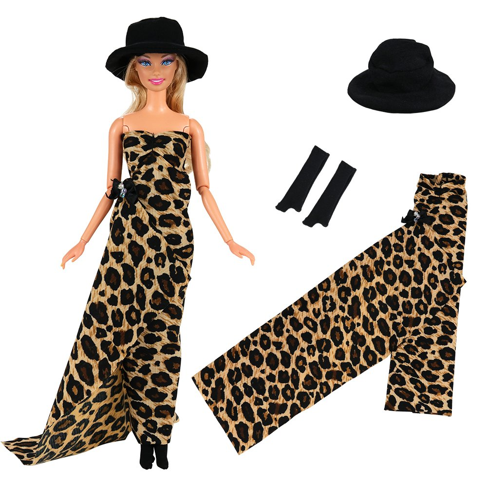 8bafc3722093 Package included: 1 set doll leopard gown tail dress with hat and black  long glove, dolls and shoes are no included. Handmade fashion style doll  dress, ...