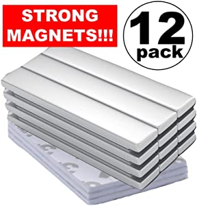 Rare Earth Magnets Strong Neodymium: Bar Super Permanent Metal Rectangular, 60X10x3mm, Powerful Pull Force, 12 Piece | Heavy Duty, Fridge Door, Garage, Kitchen, Science, Craft, Art, Office