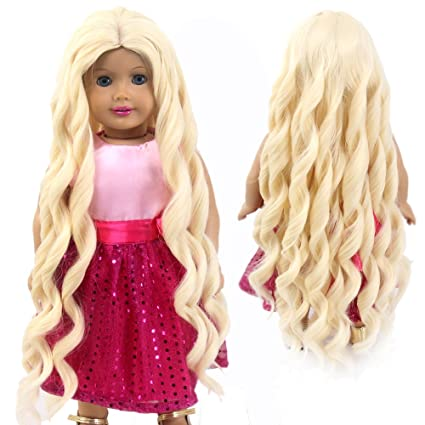 stfantasy American Girl muñeca pelucas Rubio Largo Rizado ...