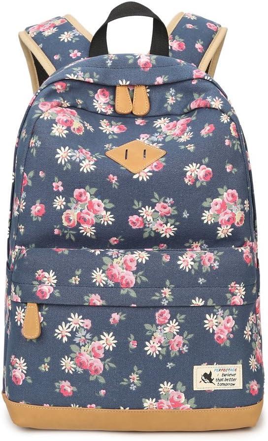 Mochila Escolar Mochila de Flores Juvenil de Moda Lona Mochila de Viaje Estampada de Flores para Instituto Adolescente Muchacha Portátil Resistente(Camomila, Azul Oscuro)