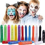 Luxbon 12 Colores Pintura Facial Niños, Crayones de Pintura de Cara, Kit de Pintura Facial y Corporal No Tóxica, Palos de Pintura Facial Lavables, Halloween, Navidad, Cosplay, Fiestas