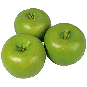 Millennial Essentials Fake Fruit Artificial Realistic Lifelike Decorative Foam Fruits & Vegetables for Hand Made Home, Kitchen, Party Decor (6pcs Green Apples)