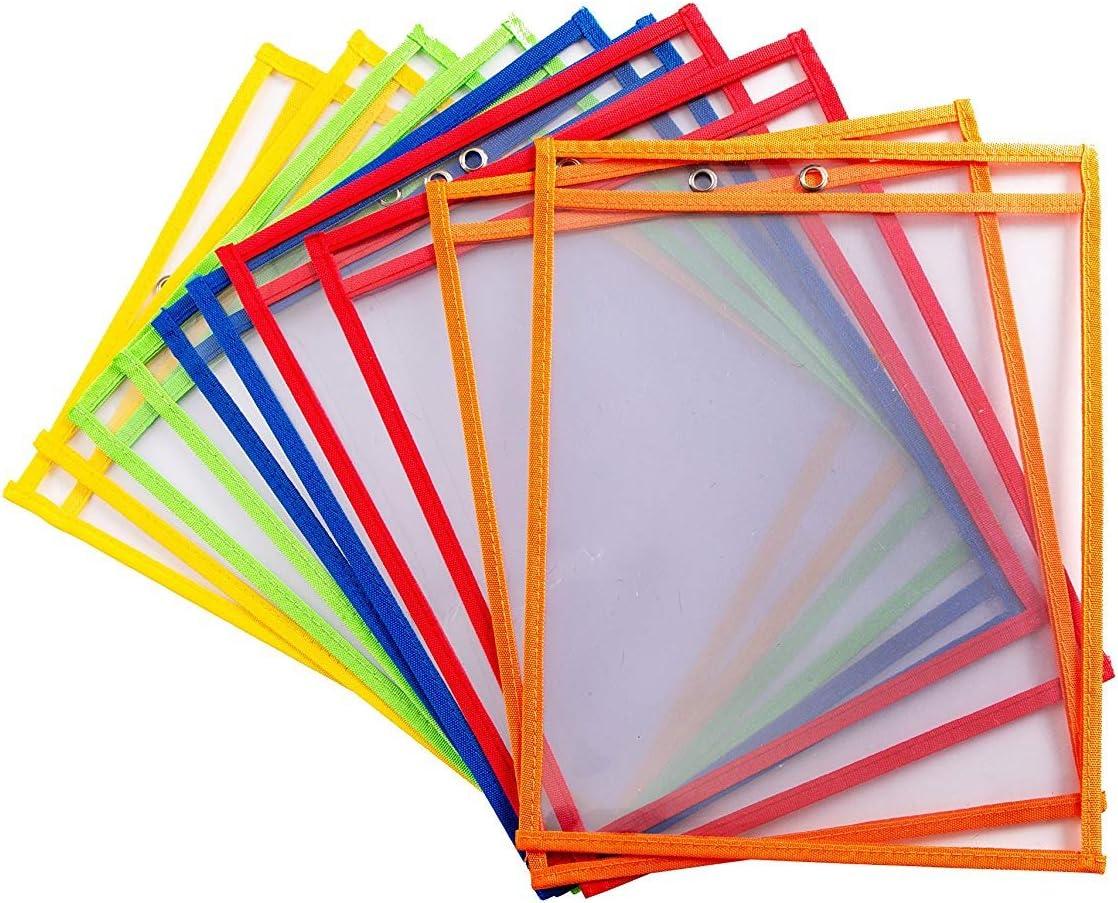 bolsillos de borrado en seco Escribir y limpiar bolsillos reutilizable escribir y limpiar bolsillos, varios colores Ideal para uso en la escuela o en el trabajo (Pack of 10)