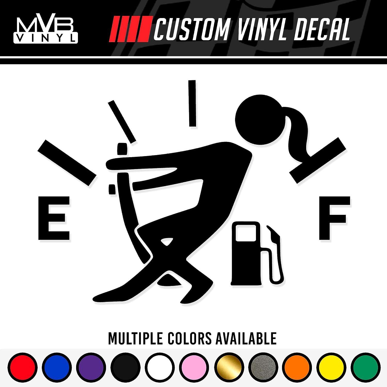 Low Gas Girl Vinyl Decal Funny Car Truck Sticker | Fuel Gauge Empty Stickman Fuel Door