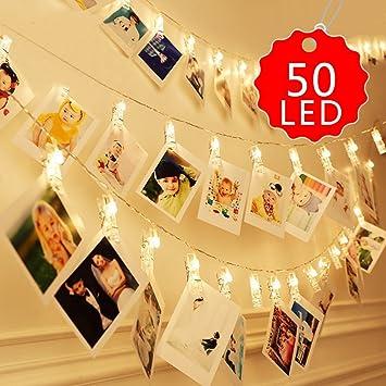 NiceButy 50 led photo pince corde blanc guirlande lumineuse 5M LED