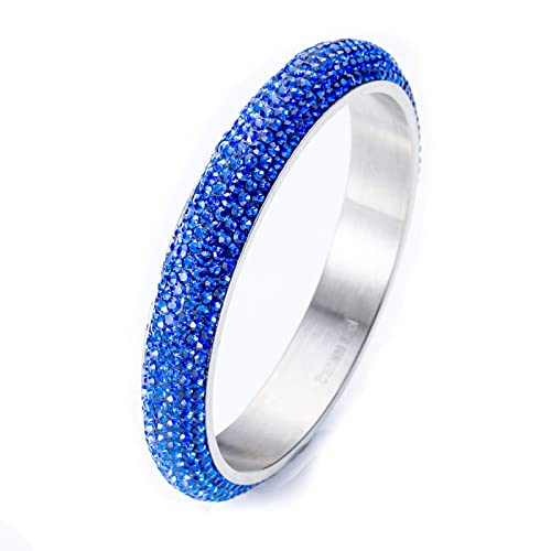 eaf91018c Stainless Steel Crystal bangle bracelet For Women - Blue 209mm SIZE 8 -  Paved with Crystal