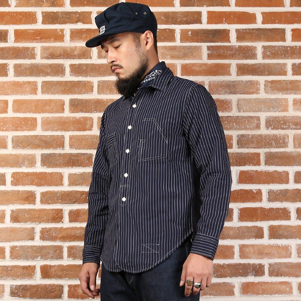 Men's Vintage Workwear – 1920s, 1930s, 1940s, 1950s Bronson Back To Old Time Mens Vintage Blue White Stripe Long Sleeve Shirt $59.99 AT vintagedancer.com