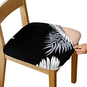Gute Chair Seat Covers, Stretch Printed Chair Covers with Elastic Ties and Button, Removable Washable Dining Upholstered Chair Protector Seat Cushion Slipcovers for Dining Room, Office(Black)