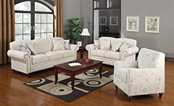 Coaster Coaster Norah 3 Piece Cream Sofa Set