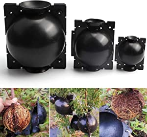 Plant Root Growing Ball, 3 Pack 12cm High Pressure Reusable Botany Rooter Grafting Box to Assisted Plant Rooting- Asexual Reproduction Device for Plants Root Fast Growth (3pcs Large, Black)
