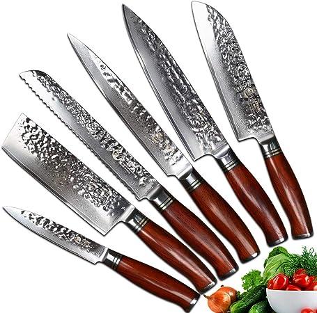 Yarenh Set Couteau Cuisine Professionnel 6 Pieces Lame En Acier