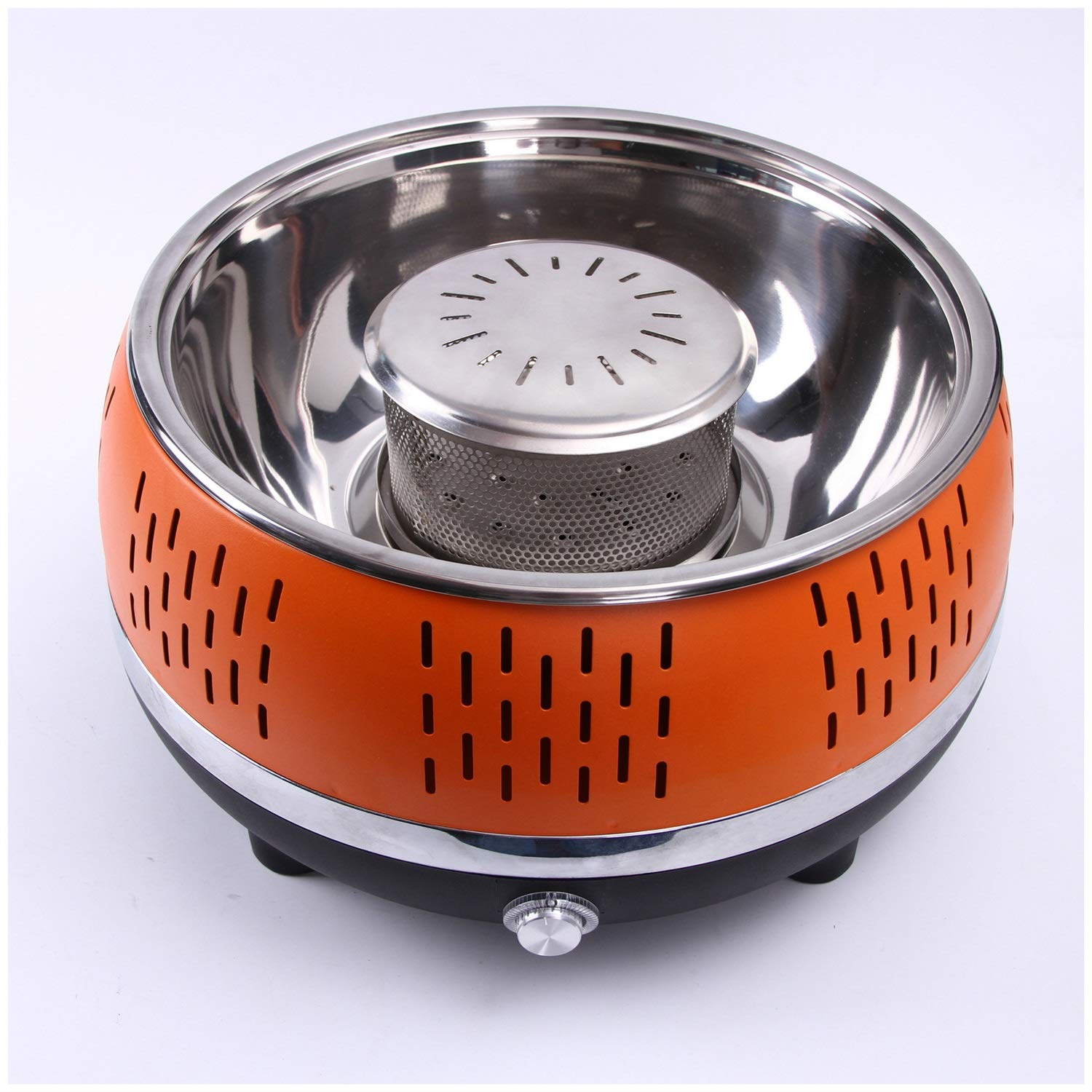 TangFeii Outdoor Stainless Steel smokeless Charcoal Grill Large Round Barbecue Stove Camping Portable Smoked Korean Carbon Oven