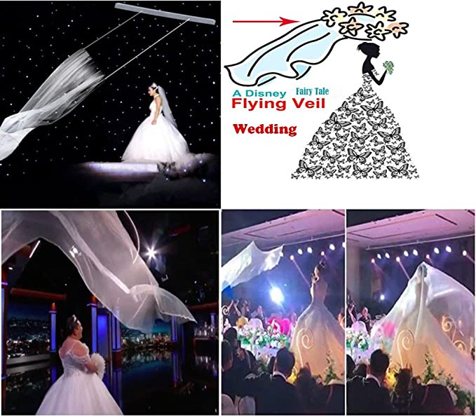 Flying Veil Wedding Flying Veil With Remote Control Lace Long White