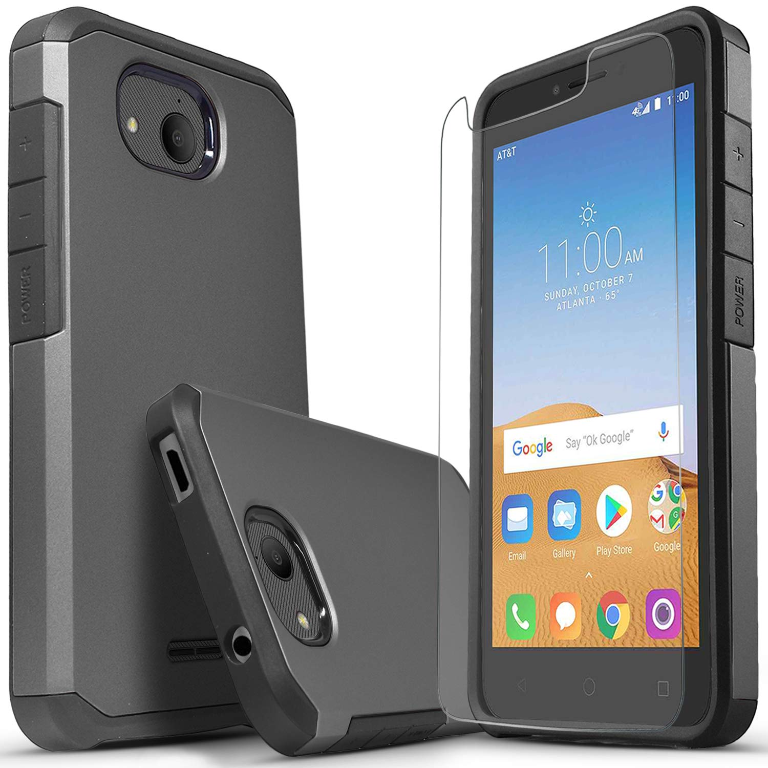 Alcatel Tetra 5041C Case, Included [Tempered Glass Screen Protector],  Starshop Absorption Drop Protection Dual Layers Impact Advanced Rugged